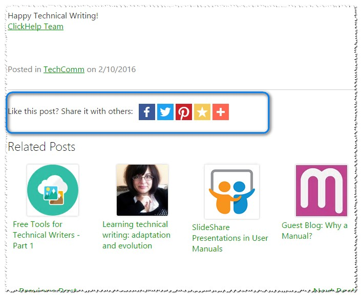 AddThis sharing buttons in ClickHelp blog