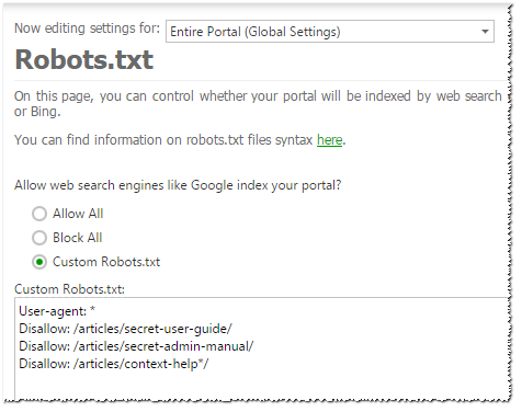Robots.txt settings for online help