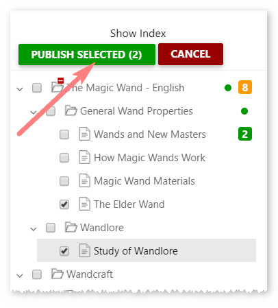 The Publish Selected button