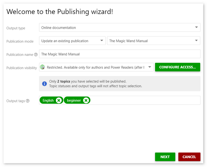 The publishing wizard dialog