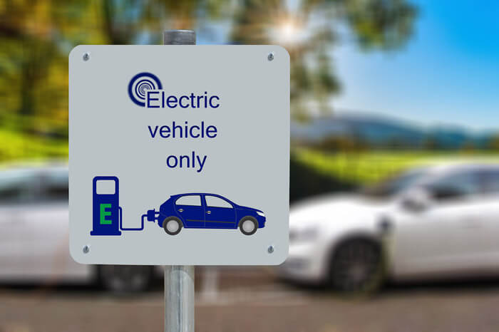 electric cars only sign