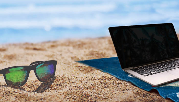 laptop and sunglasses