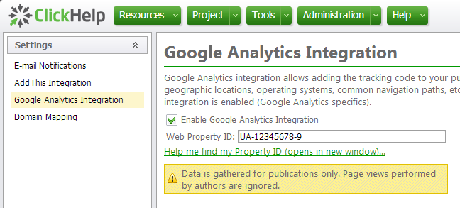 ClickHelp - Google Analytics Integration
