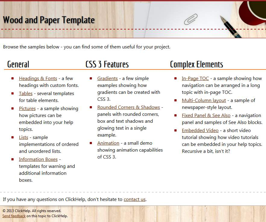 Free Online Documentation HTML Templates For Commercial Use - Online documentation template