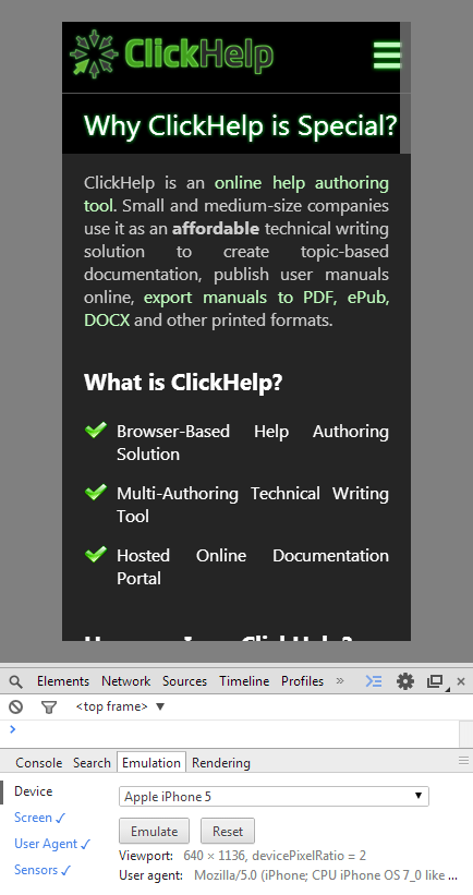 ClickHelp Web Site in Chrome Emulation