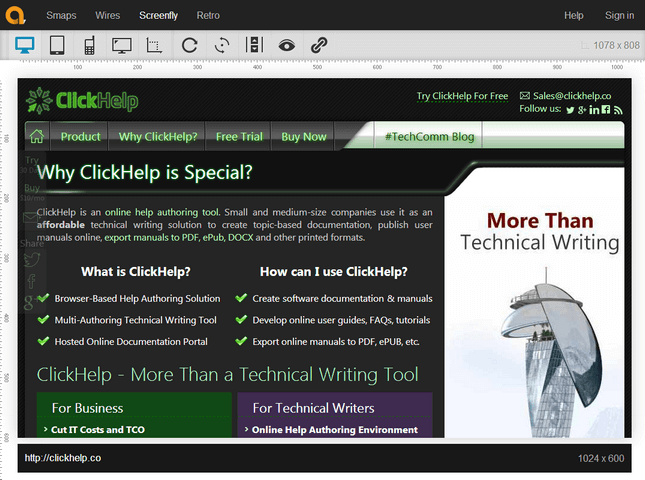 ClickHelp Web Site in Screenfly Emulation
